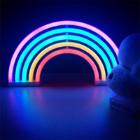 Wholesale office room signs - Fashion Colorful Rainbow led neon sign light holiday Xmas party wedding decorations kids room night lamp home Decor wall Decor