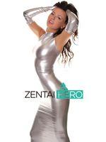 traje de cuerpo vestido sexy al por mayor-Envío Gratis DHL Sexy Disfraz Adulto Plata Larga Guantes Body Brillante Metálico Zentai Vestido de Traje Para La Fiesta de Halloween
