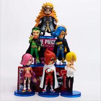 Wholesale one piece figure set sanji - One Piece 8cm 6pcs set Vinsmoke Reiju Judge Sanji Ichljl VinsmokeFamily Action figure toys doll Christmas gift