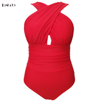 Wholesale Swimming Cups - Wholesale-Large Size Swimming Suits Womens 1 Pieces Trikinis Retro Cross Cup High Waist Swimsuit Red Plus Size One-pieces Bathing Suits