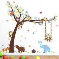 affe kinder dekor groihandel-Neue Mode Waldtiere Baum Wandaufkleber Für Kinderzimmer Affe Bär Dschungel Wilde Kinder Wandtattoo Schlafzimmer Dekor Poster Wandbild