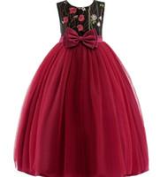 ingrosso abiti da sposa di progettazione fiocco rosso-bambini vestiti firmati Abito principessa Ricamo Fiori Ragazze Prom da sera Abito lungo da festa Elegante Kid Abito da sposa per bambina con fiocco rosso