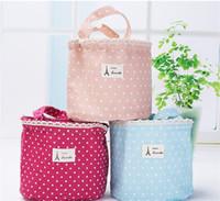 ingrosso contenitore di tela-Lunch Container Bag Picnic Bento Pouch Handbags Borse termiche portatili coibentate in cotone e tela di lino 4 5 gg