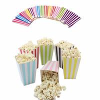 torbalı mısır toptan satış-120 Adet / paket Renkli Chevron Kağıt Popcorn Kutuları Pop Corn Favor Gıda Şeker Gıda Düğün Dekor Doğum Günü Partisi Malzemeleri için