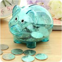 cajas de ahorro al por mayor-Originalidad Color Piglet Savings Bank Caja Pinkycolor Niños Transparent Plastic Piggy Banks Caja de almacenamiento Botella Regalos de cumpleaños 3 65ds2 ff