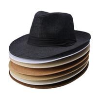 d95bce7a64c Wholesale straw fedora hats for sale - 7 Colors Fashion Unisex Hat Men  Women Summer Sun