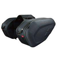 motosikletler eyer çantaları toptan satış-2 adet Su Geçirmez Motosiklet Eyer çanta Moto Sürme Kask Çantası Yan Çanta Kuyruk Bagaj Bavul Yağmur Kapak ile 36-58L