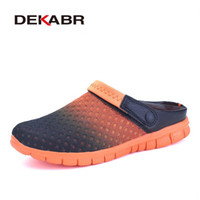 Wholesale New Beach Shoes Mens Sandals - Big Size 36-46 Men Summer Shoes Sandals New Breathable Beach Flip Flops Slip On Mens Slippers Mesh Lighted Unisex Shoes