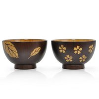 Wholesale japanese soup bowls resale online - Hand made Japanese Style Wooden Bowl Delicate Sakura Leaves Figure Noodle Rice Bowl Zizyphus Jujube Wood Soup Bowl Nice Lover Tableware