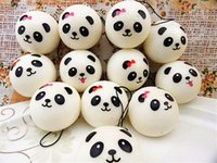 Wholesale black science - Cute 4cm Squishy Panda Kawii PU Soft Slow Rising Toys Panda Expression Buns Bread Charm Phone Straps Squeeze Toy Gift