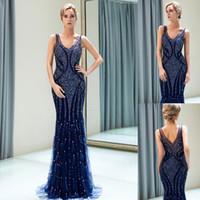 Wholesale elegant mermaid quinceanera dresses resale online - Elegant Navy Blue Beaded Designer Evening Dresses Luxury Mermaid Straps V Neck Floor Length Prom Ball Gown Wedding Guest Dress CPS1168