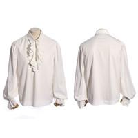 botones steampunk al por mayor-Steampunk Retro Hombre sexy camisas de esmoquin punk gótico solo botón camisa de manga larga camisa de algodón casual blanco Tops