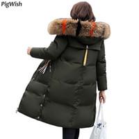 d9ddf13f8873 damen winter mäntel großen kragen großhandel-2018 Qualität große Pelzkragen  Winterjacke Frauen verdicken warme lange