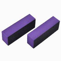 ingrosso tamponi di chiodo viola-Tools Files 2Pcs Purple Block Nail file Buffer 3 modi Levigatura Spugna Rettifica Lucidatura Nail Art Manicure Salon Strumenti fai da te