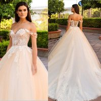 Wholesale off shouder - Champagne 2018 Lace Wedding Dresses Off The Shouder Lace Up Back Plus Size Cheap Bridal Gowns Sweetheart Neck Sweep Train Dubai Wedding Gown
