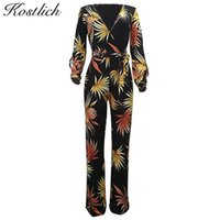 ingrosso manica lunga delle bambù-Kostlich Bamboo Leaves Stampa Deep V-Neck Split Long Sleeve Long Pants Women Tute Summer Autumn Women Pagliaccetti con ante