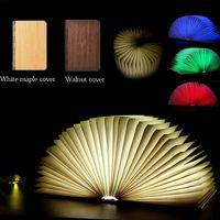 3d falten großhandel-Neue RGB LED 3D Nachtlicht Folding Book Light Schreibtischlampe USB Port Wiederaufladbare Holz Magnet Abdeckung Haus Tisch Schreibtisch Decke Decor Lampe