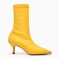 mediados de becerro puntiagudo botas al por mayor-Botas de calcetines rojos amarillos en punta Botas a media pierna Botas de mujer Tacones altos Botines de tacón de aguja Botas Mujer