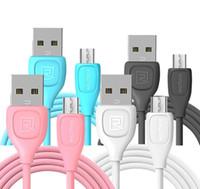 sincronización de transferencia de carga de cable usb al por mayor-Cable de datos USB micro REMAX original 1m Transferencia de sincronización Cable de datos USB de carga rápida para samsung Apple LG Huawei