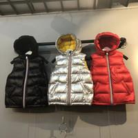 erkek ceketleri toptan satış-Çocuklar Kış Sıcak Kalınlaşmak Yelekler aşağı ceket Bebek Ördek Aşağı Ceket Yelek Kapşonlu Ceket Kız Erkek Çocuklar Için fermuar ceket Giyim