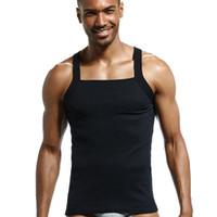 veste de vêtements achat en gros de-Mode homme gilet de sommeil à la maison des hommes occasionnels colete coton débardeur solide t-shirts gai sexy vêtements top vêtement sans manches