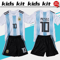 Wholesale messi jersey kids - 2018 world cup Argentina soccer Jersey Kids Kit 2018 Argentina home white Soccer Jerseys MESSI Child Soccer Shirts uniform jersey+shorts