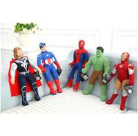 ems oyuncakları toptan satış-Yenilmezler peluş oyuncak Kaptan Amerika Hulk Örümcek Adam uçak oyuncaklar EMS ile göndermek Yeni Yüksek kaliteli PP pamuk Karikatür