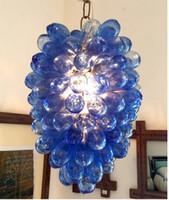 lustres en raisin achat en gros de-Lustre en cristal bleu créatif fleur de raisin allumant des ampoules LED de style vintage chandeliers en verre soufflé à la main