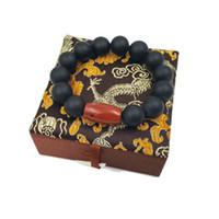 jaspe preto venda por atacado-Lii Ji Pedra Natural Matte Black Onyx 16 milímetros Red Jasper Pulseira com caixa de seda por Mulheres ou homens