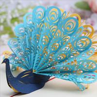 ingrosso origami pop up carta di nozze-Cartolina d'auguri dell'invito di Pop UP di Kirigami Origami 3D del pavone vuoto fatto a mano per il regalo della festa nuziale di compleanno 5 colori