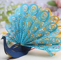 origami pop-up hochzeitskarte großhandel-Hohl Pfau handgemachte Kirigami Origami 3D Pop Up Grußkarten Einladung Postkarte für Geburtstag Hochzeit Party Geschenk 5 Farben