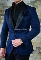designer de smoking de marine achat en gros de-Hommes Costume Pour Le Mariage 2018 Nouveau Designer Custom Made Bleu Marine Veste Avec Pantalon Noir Formelle Hommes Costume De Bal De Mariage De Mariage