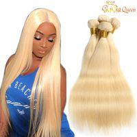 28 zoll blonde erweiterungen großhandel-613 Farbe Gerade Haarwebart Bundles Blonde Brasilianische Gerade Haar 10-24 zoll Menschenhaarverlängerungen gaga queen