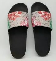 Wholesale lace flower sandals - 2018 luxury brand slide sandals slippers for men women flowers tigers print designer sandals unisex beach flip flops slipper