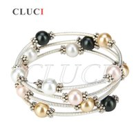 Wholesale pearl bracelet designs - CLUCI Special Design of 1 Piece 18kgp Silver Plated Colorful Shell Pearl Adjustable Bracelet for Women, free shipping
