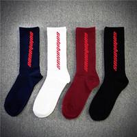 erkekler kalın çorap toptan satış-Moda Erkekler Kadınlar Çorap Moda Marka Kalın Çorap Calabasas Tanrı'nın Korkusu Mektup Baskı Tasarım Uzun Çorap Hip Hop Kanye Batı Çorap
