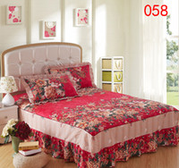 ingrosso peoni rossi-Home Red Peony Cotton Gonna Coprimaterasso Petticoat Twin Completo Queen King Bed Gonne Copriletto BEDSKIRT 150x200cm 120x200cm