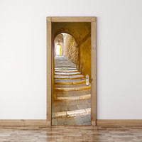 palabra blanca calcomanías de pared al por mayor-2pcs / set Pasos de piedra de la puerta pegatinas etiqueta de la pared del estilo europeo para el dormitorio sala de estar de la decoración del cartel de la etiqueta impermeable de PVC