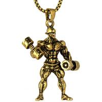 peso pendiente de oro al por mayor-Strong Man Dumbbell Colgante de collar de acero inoxidable cadena de color oro Cool Weight Plate collar hombres gimnasio hip hop joyería