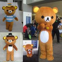 mascotes de urso adulto venda por atacado-2018 venda quente de fábrica Janpan Rilakkuma urso mascote trajes tamanho adulto urso traje dos desenhos animados de alta qualidade festa de Halloween frete grátis