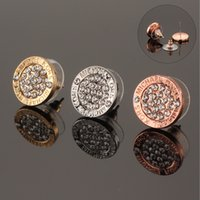 Wholesale 3Colors Rhinestone Alloy Earrings Designer Jewelry Earrings Fashion Stud Earring Jewelry Earrings Luxury Brand Earring Mothers Day Gifts