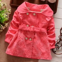 девушки розовые весенние пальто оптовых-Bekamille весна осень дети пальто девушки мода сплошной цвет новорожденных девочек пальто и куртки с поясом дети ветровка розовый