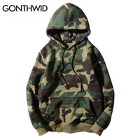 Wholesale camo fleece mens - Wholesale- GONTHWID Army Green Camouflage Hoodies 2017 Winter Mens Camo Fleece Pullover Hooded Sweatshirts Hip Hop Swag Cotton Streetwear