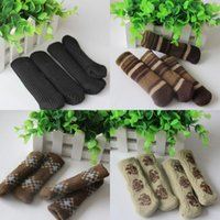 Wholesale furniture table legs for sale - Group buy Table Legs Sleeve Multi Color Non Slip Stripe Knitted Chair Foot Cover New Arrive zy C R