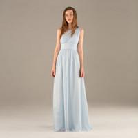 açık mavi elbise gerçek fotoğraf toptan satış-Işık Sky Blue Moda Real Resimleri Kılıf Bir Omuz Şifon Plise Gelinlik Modelleri Seksi Geri Akşam Elbise Kat Uzunluk Uzun Nedime Elbisesi
