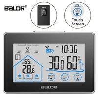цифровой жк-гигрометр часы термометр оптовых-Baldr Главная ЖК-метеостанция сенсорная кнопка In / наружная температура влажность беспроводной датчик гигрометр часы цифровой термометр