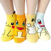 Wholesale cotton children slipper online - Cartoon Anime Monster Pikachu Printed cotton Socks Fashion Women Children Teen Ankle Sock slippers Hosiery styles AAA1310