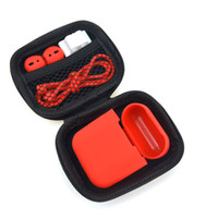 pele vermelha para iphone venda por atacado-A Set Para a Apple Aripods Caso Kit Titular Anti-Loss Corda Air Pods Acessórios para iPhone Red AIRPod carregamento Caixa preta da tampa Skins i7