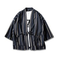 Wholesale Japanese Kimono Styles - Helisopus Thin Linen men's Jackets Chinese Style drwastring Stripe Coat Japanese Kimono male male Jacket Open Sititch Jackets