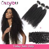 Wholesale unprocessed mongolian water wave closure resale online - 9A Mongolian Kinky Curly Deep Wave Water Straight Body Wave Virgin Hair Bundles With Lace Closure Unprocessed Brazilian Peruvian Hair